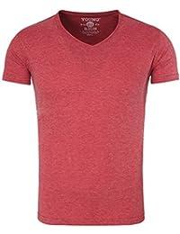 Young and Rich - T shirt col v pour homme T-shirt 1702 rouge bordeaux - Rouge