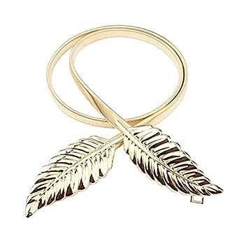 SATYAM KRAFT Women's Metal Skinny Stretch Leaf Belt Pack of 1 (Leaf Belt_Golden)