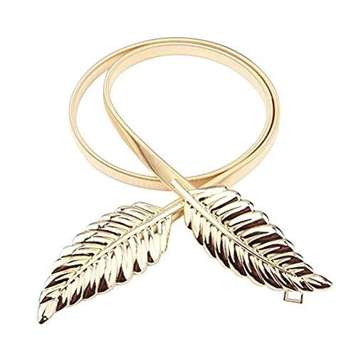 Satyam Kraft 1 Pcs Celebrity Inspired Diwali Gift Special Golden Diva Dainty Leaves Golden Skinny Stretch Metal Belt For Women/Girls Leaf Belt
