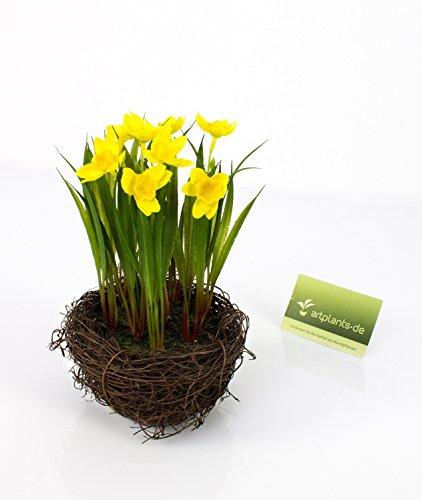 artplants Künstliche Narzisse im Reisig Nest, gelb, 22 cm, Ø 14 cm – Kunstblumen gelb/Narzisse im Topf
