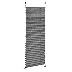 [neu.haus] Klemmfix Plissee (60x200 cm) (grau) - Sonnen- und Lichtschutz - blickdicht (bohren entfällt)