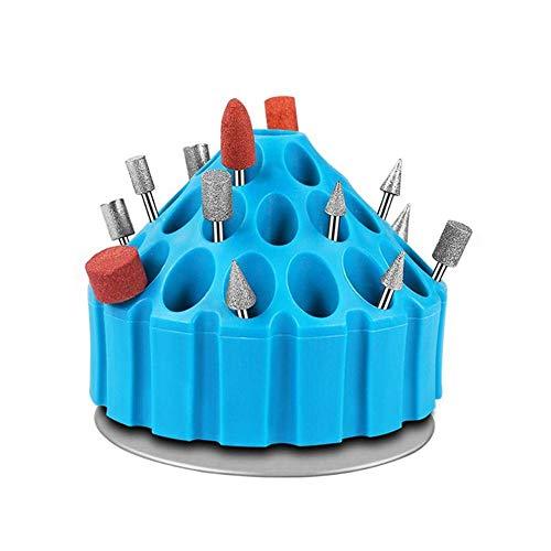 NOBGP 2 Stücke Elektrische Schleifbohrer Aufbewahrungsbox, Multi-löcher Fall Stehen Hartplastik Organizer, 360 Grad-umdrehung Schleifen Schleifköpfe Container Regal -