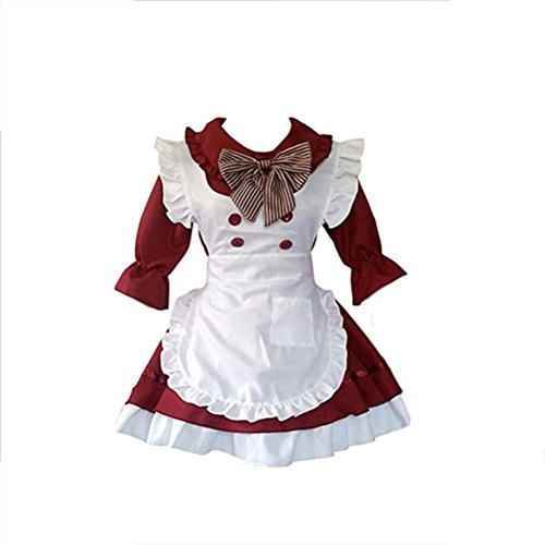 Anime Cosplay party Costumes Cute School Uniform Women's Lolita Dress French Maid Costumes ( Dark red, Size M )