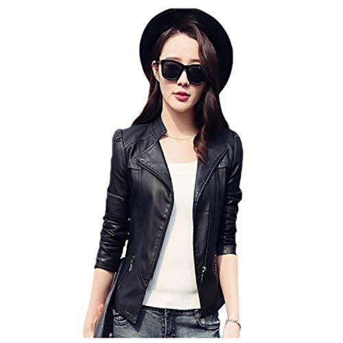 CuteRose Womens Fold-Collar Bomber Skinny Trench Coat Moto Biker Jacket Black L Cropped Damen Trench Coat