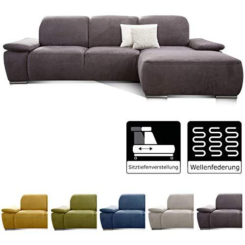 CAVADORE Ecksofa Tabagos / Große Couch mit Longchair rechts / Modernes Sofa mit Sitztiefenverstellung/ Verstellbare Rückenlehne / 283 x 85 x 187 /Grau