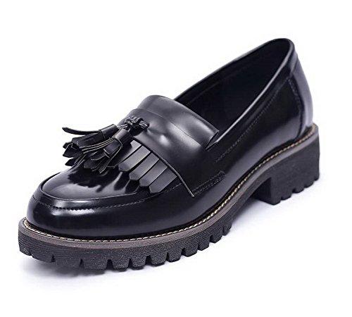 VogueZone009 Damen Rein Blend-Materialien Niedriger Absatz Rund Zehe Ziehen Auf Pumps Schuhe Schwarz