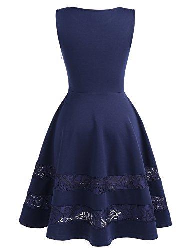 Dressystar Damen Brautjungfernkleid 50er Kleid Damen Ärmellos Spitze Kleider Elegant Saum Royalblau
