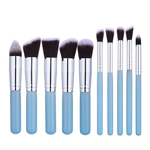 Fashion Base® Lot de 10 Bleu Argent Lot de pinceaux de maquillage professionnel Tools-natural Cheveux synthétiques Kabuki Brush-cosmetics Brush-face Poudre Contour Surligneur Fond de teint liquide Correcteur Fard à paupières Brosse à sourcils