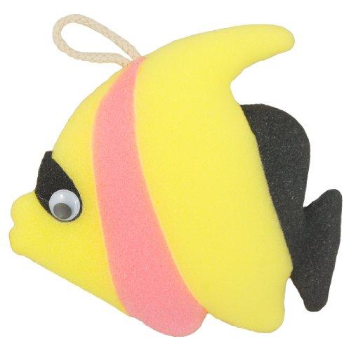 Sourcingmap en forme de poisson Bain Douche éponge douce Pouf Boucle Scrubber, Noir/jaune