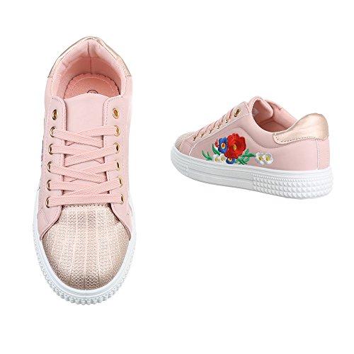 Sneakers Ital-design Basse Scarpe Da Donna Sneakers Basse Sneakers Lacci Scarpe Casual Rosa Fc8615