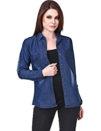 d711d865f Trendy Frog Women Long Sleeve Monkey Wash Denim Shirt Top, Blue, Large Size