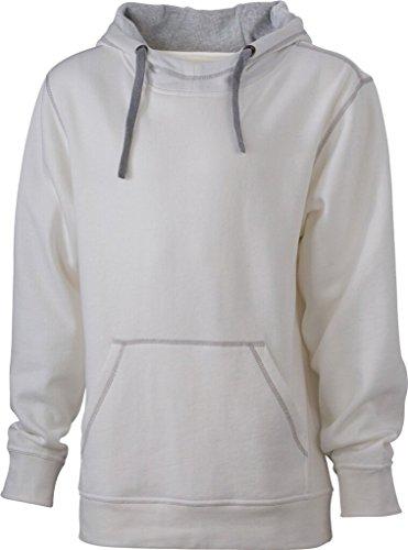 JAMES & NICHOLSON Sweatshirt a capuche contrasté blanc cassé/gris chiné