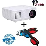 Punnkk P5 800 Lumens Led Projector For Home Cinema And Gaming With Free 3D Glass / Spectacles