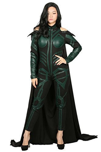 Hela Cosplay Costume Damen Outfit Anzug Set Overall mit Kap Erwachsene Halloween PU Pause Fancy Dress (Custom Thor Kostüme)
