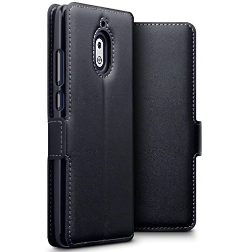 TERRAPIN, Kompatibel mit Nokia 2.1 Hülle, ECHT Leder Börsen Tasche - Ultra Slim Fit - Betrachtungsstand - Kartenschlitze - Schwarz