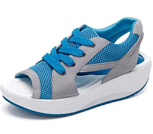 Damen Mädchen Netz Atmungsaktiv Sandalen Keilabsatz Turnschuhe Plattform Offene Zehen Sandaletten -