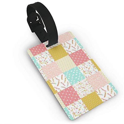 Heater Quilt Squares Luggage Tag with Name ID Card Perfect to Quickly Spot Luggage Suitcase