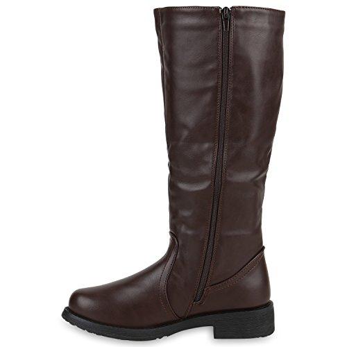 Klassische Stiefel Damen Schnallen Profil Sohle Lederoptik Dunkelbraun