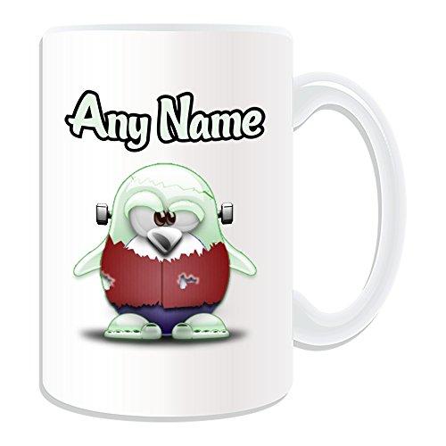 Personalisiertes Geschenk, großer Frankenstein Monster Tasse (Pinguin Film Charakter Design Thema, weiß)–Jeder Name/Nachricht auf Ihre Einzigartiges–Kostüm Film Superheld (Cute Kostüme Frankenstein)