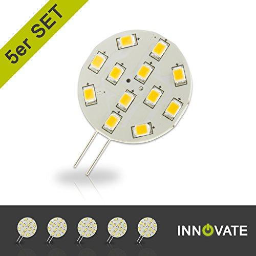 [ 5er Pack / Set ] INNOVATE G4 LED Stiftsockel-Lampe Leuchtmittel 12SMD / 2W - ersetzt 10-15W, warmweiss - 3000K, Pins seitlich, 170 Lumen, 120° Abstrahlwinkel Led-platine