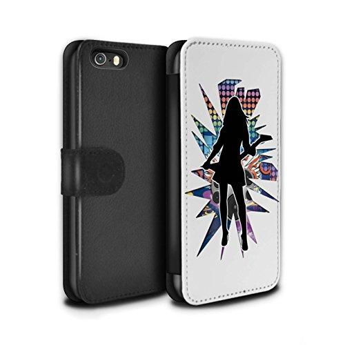Stuff4 Coque/Etui/Housse Cuir PU Case/Cover pour Apple iPhone SE / Hendrix Noir Design / Rock Star Pose Collection Rock Dame Blanc