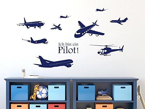 GRAZDesign Wandsticker Wanddeko Jugendzimmer Junge Pilot Set - Wandtattoo Jungs Kinderzimmer Flugzeute Hubschrauber Helikopter - Wandtattoo Flieger Luft Flug / 150x57cm / 770033_57_052