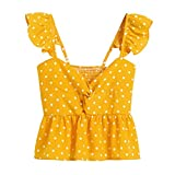 f641882226 MA87 Women Floral Frill Trim Polka Dot Top Sleeveless T Shirts Casual  Chiffon Tank