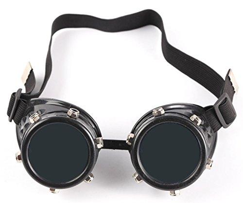 AFUT Gothic Steampunk Goggles einstellbare Brille Cosplay Schwarzer Frame
