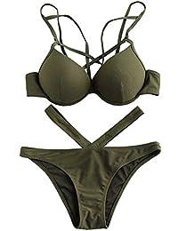 Romwe Damen Push Up Bikini mit Bügel V-Kreuz Bademode Beachwear