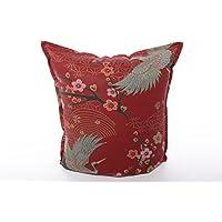 Japanisch Kissen Kranich Wendekissen mit Goldelementen und Kirschblüten 40 x 40 cm 100 % Baumwolle mit Füllkissen.