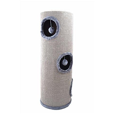 Produktabbildung von [mia.home®] Kratzbaum Kratztonne Kuschelhöhlen für Katzen Katzen Höhle Tonne Grau 100cm