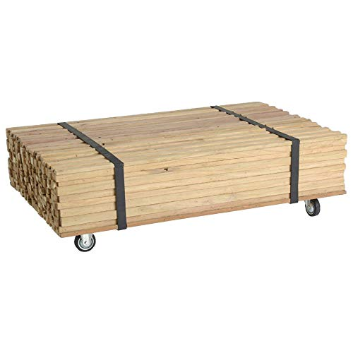 PierImport Table Basse à roulettes en Bois recyclé Naturel 110x70x33cm