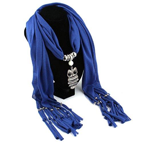 Transer ® Femelle Écharpes, Mode Femmes Collier Design unique Echarpes Owl Pendentif Glands Bijoux Écharpe Châle Wrap Tissu Accessoires Bleu