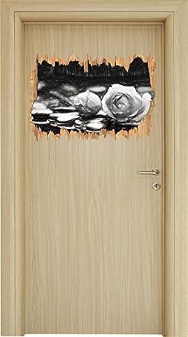 Rosen aus Zen-Steinen Kohle Effekt Holzdurchbruch im 3D-Look , Wand- oder Türaufkleber Format: 62x42cm, Wandsticker, Wandtattoo, Wanddekoration