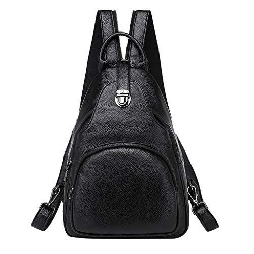 Rucksack Damen PU Lederrucksack Damen Rucksack Frauen Handtasche Wasserdichte Rucksack Schwarz Tasche Muttertagsgeschenk