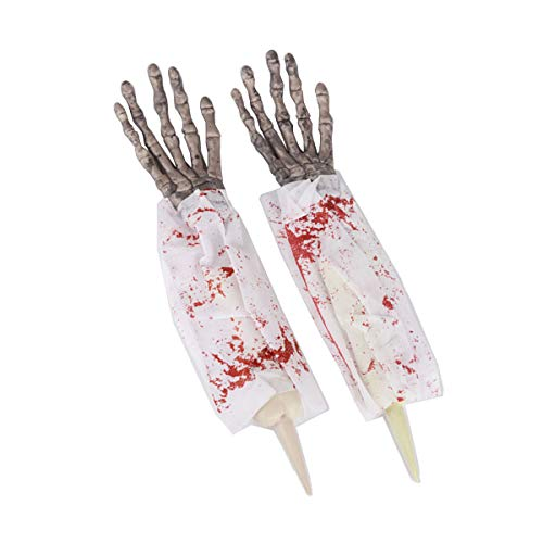 Amosfun halloween horror puntelli realistico mani insanguinate falso braccio armi decorazioni horror puntelli per halloween club pub haunted house prank toys 1 paia