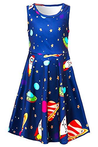 Adicreat Mädchen Planet Ärmelloses Sommerkleid Niedlich A-Linie Kleid 10-12 Jahre