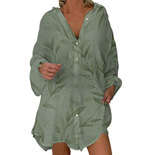 MOTOCO Damen Langarm Pullover Jumper Top Frauen Freizeit Polka Dot Button Button Cardigan Übergröße Jacke Bluse(S,Armeegrün)