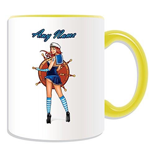Personalisiertes Geschenk–Hot Sailor Tasse (Sexy Lady Design Thema, Farbe Optionen)–alle Nachricht/Name auf Ihre einzigartige–Meer Schiff Rad Fancy Kleid Kostüm, keramik, ()
