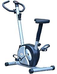 Vélo d'appartement exercice cycle cardio avec écran LCD guidon pivotant hauteur réglable argent et noir neuf 05