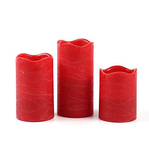 Rot Timer (3 Rot flammenlose Kerzen Rustik-Design Timer-Funktion mit Batterien enthalten, rustikale Wachskerzen ohne Flamme)