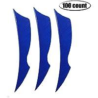 Milaem Tiro con arco Plumas para flechas Pluma de flecha de 4 pulgadas nature Fletching para Flechas de puntería (paquete de 100)