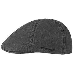 Stetson Texas Organic Cotton Flatcap Herren - Nachhaltige Schiebermütze mit Bio-Baumwolle - Flat Cap mit UV-Schutz (40+) - Herrencap Frühjahr/Sommer - Schirmmütze schwarz M (56-57 cm)