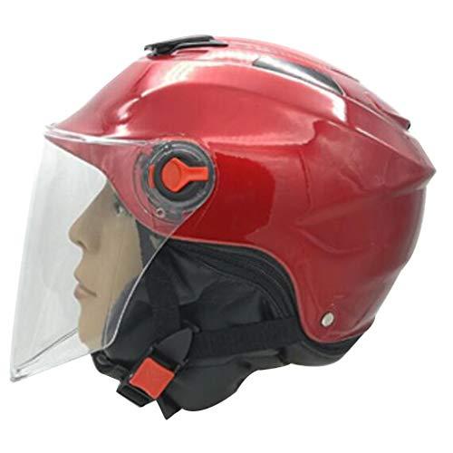 JNYZQ Motorradhelmhelm-Batterieautohelm-Winter-Lätzchen-halber Sturzhelm (Farbe : Red)