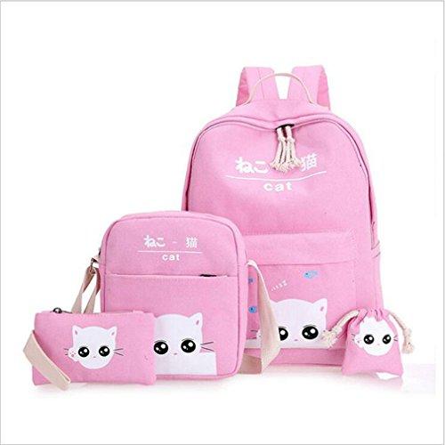 KCJELK 4Pcs of Set Backpack Women Anime Cat School Backpack Segeltuch Knapsacks for Girls Segeltuch School Bag Pink As Picture