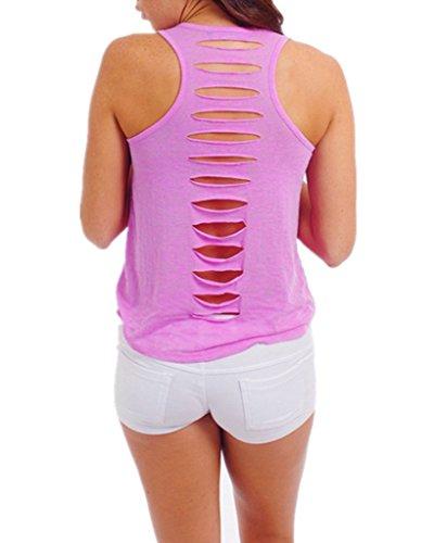 Smile YKK Damen Aermellos Shirt Sommer Tank Tops Oberteil T-shirts Violett