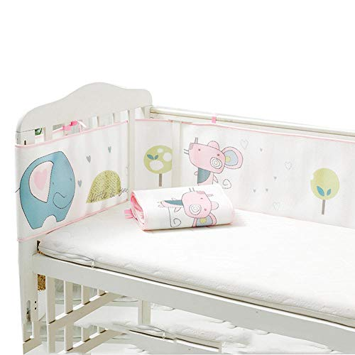 Baby atmungsaktives Mesh Crib Liner Kinderzimmerbett Stoßstangenpolster 4-seitige Abdeckung, Cradle Protector Bettgitter voller Größe, maschinenwaschbar, verdicken, 300 x 28 cm + 150 x 28 cm @ A2