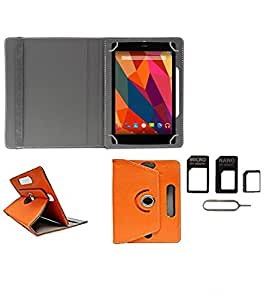 Gadget Decor (TM) PU Leather Rotating 360° Flip Case Cover With Stand For Dell Venue 7 3740 Tablet + Free Sim Adapter Kit - Orange
