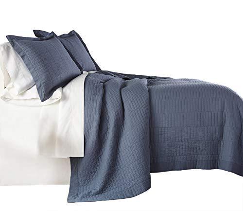 chezmoi Kollektion Yuma 3Stück Modernes 100% -Cotton vorgewaschen Soft-Finished Quilt Set Modern King Blau -