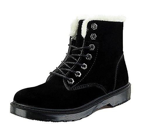 Dayiss Damen warm gefütterte Stiefeletten Flach Kurzschaft Stiefel Schnürhalbschuhe Combat Boots Winterboots Schwarz